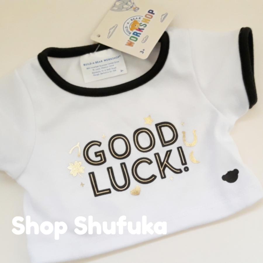ビルドアベア 半袖Tシャツ GOOD LUCK グッドラック ぬいぐるみ テディベア ダッフィー シェリーメイ くま 洋服 白 トップス Build A Bear|shu-fu-ka|04