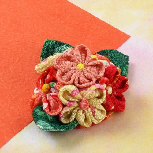 無料参考寸法図 縫い絞りの花コサージュ