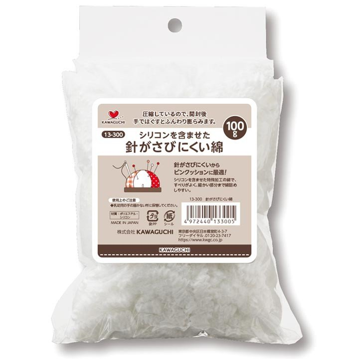 シリコンを含ませた ☆正規品新品未使用品 針がさびにくい綿 100g 超激安特価 113-300 KAWAGUCHI 綿 ピンクッション かわいい オリジナルピンクッション