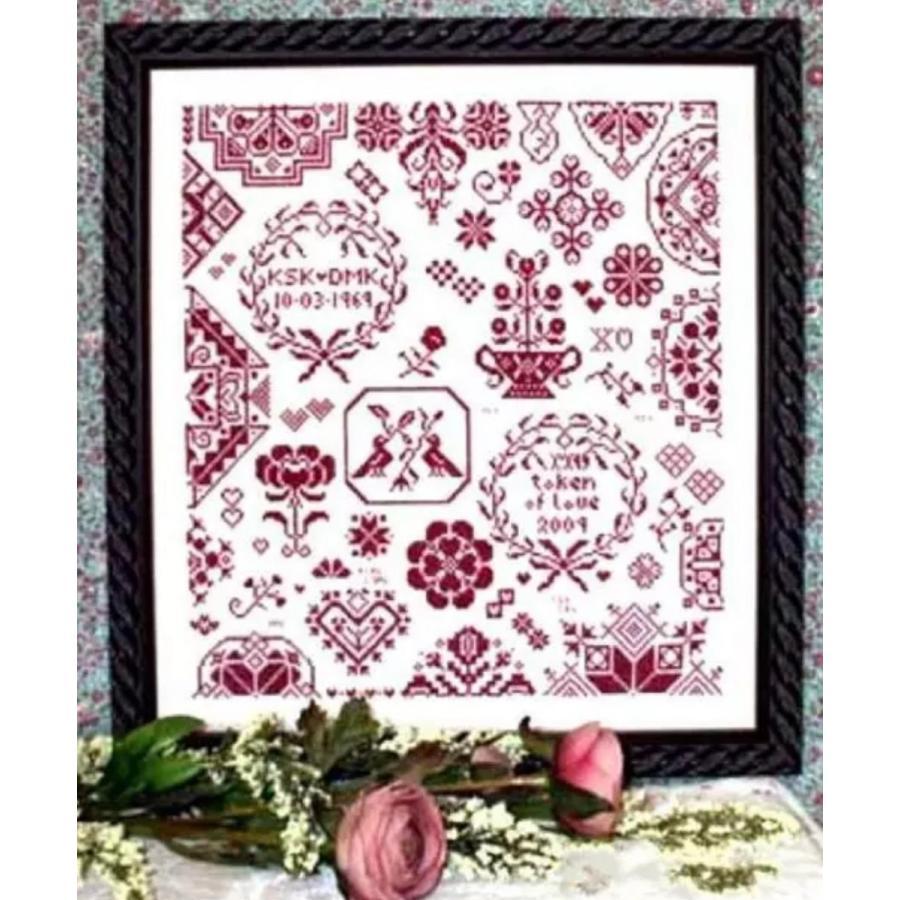 クロスステッチキット 赤糸刺繍のサンプラー 通信販売 1色刺し 結婚祝い レッドワーク 送料無料 初心者 刺しゅうキット 手芸