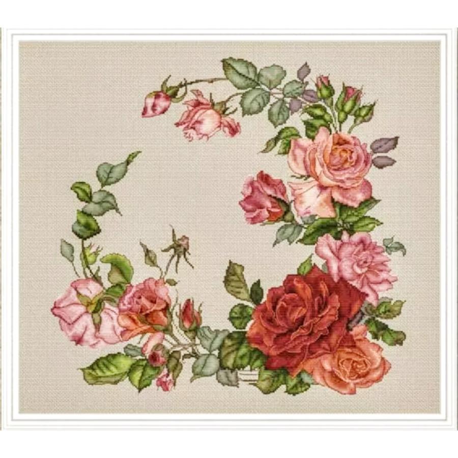 クロスステッチキット 薔薇のリース 花 薔薇 刺繍キット 手芸 ◆セール特価品◆ 送料無料 海外輸入刺しゅうキット バラ 日本限定
