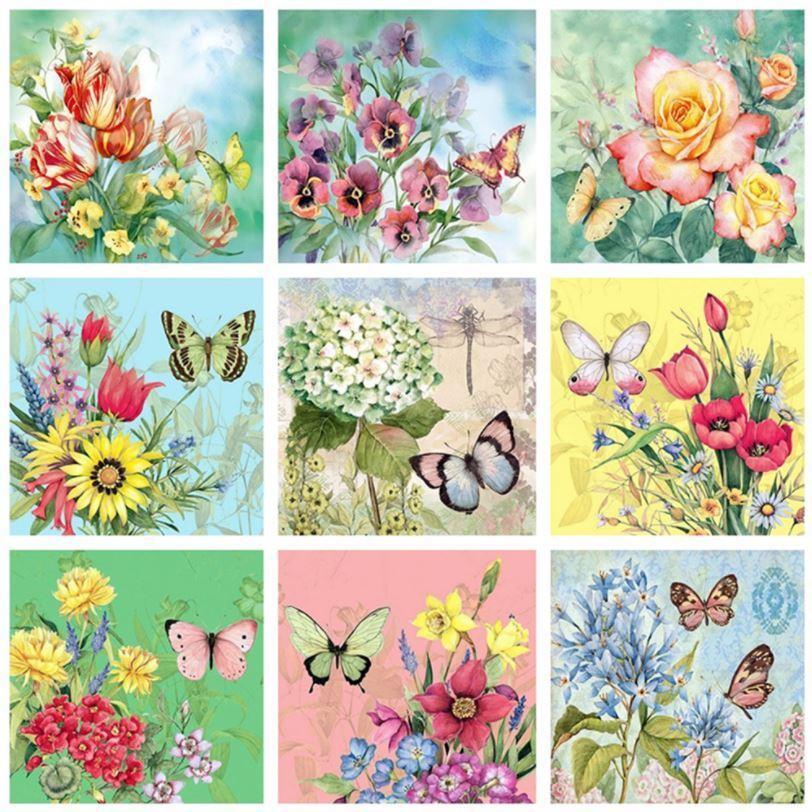ダイヤモンドアート ビーズ刺繍 保証 キット 季節の花 全9種 蝶々 薔薇 チューリップ ダイアモンドペインティング 紫陽花 初心者 手芸 送料無料 市場
