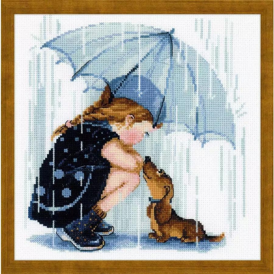 贈呈 正規品 ロシア製 価格交渉OK送料無料 Riolis クロスステッチキット 一緒に雨宿り Under ダックスフンド 女の子 リオリス Umbrella the