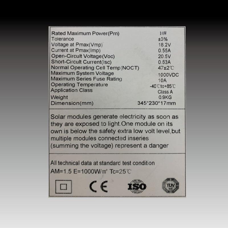 ソーラーパネル 10W 単結晶シリコン 太陽光発電 ソーラーチャージャー 蓄電 充電 自家発電 太陽光パネル ソーラー充電器 18V 高発電効率 防災 停電対策 sigen-shop 03