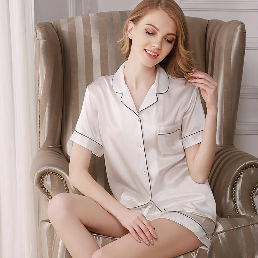 パジャマ 半袖 送料無料 シルク 短パン 女性用 レディース シルク100% パジャマ 寝間着 プレゼント ピンク ホワイト ネイビー|sil-vender|02