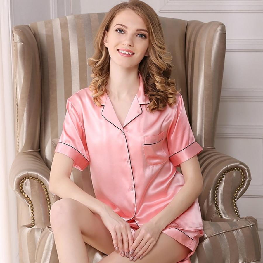 パジャマ 半袖 送料無料 シルク 短パン 女性用 レディース シルク100% パジャマ 寝間着 プレゼント ピンク ホワイト ネイビー|sil-vender|03