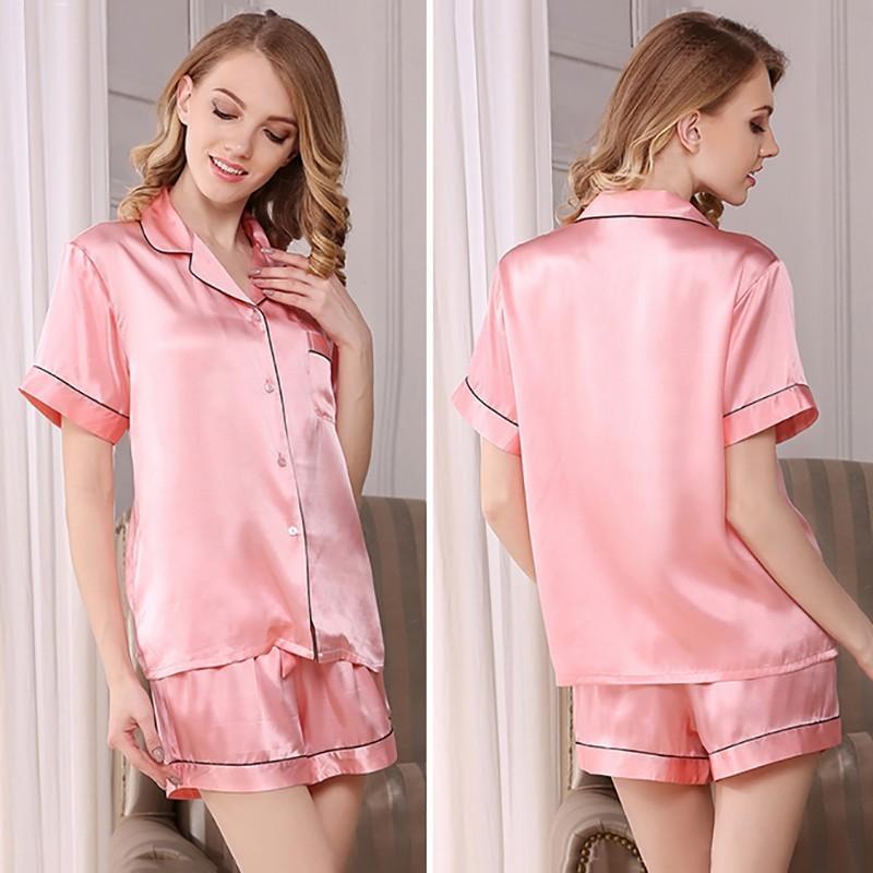 パジャマ 半袖 送料無料 シルク 短パン 女性用 レディース シルク100% パジャマ 寝間着 プレゼント ピンク ホワイト ネイビー|sil-vender|06