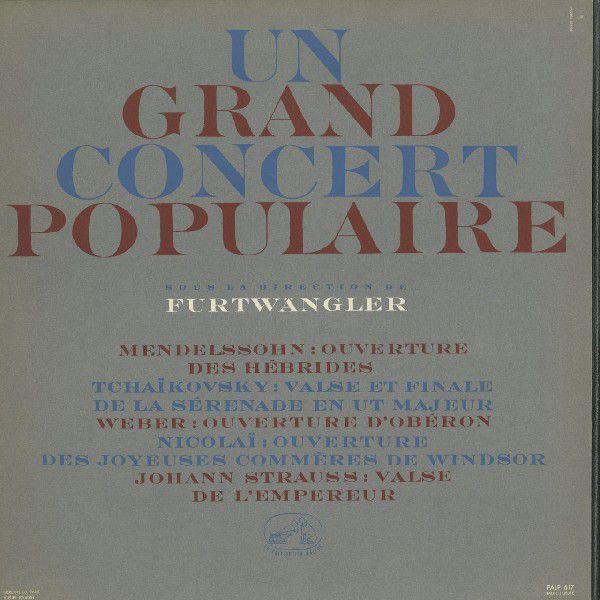 <中古LPレコード>「ポピュラー·コンサート」メンデルスゾーン:序曲「フィンガルの洞窟」,チャイコフスキー:セレナーデOp.48·2曲,他