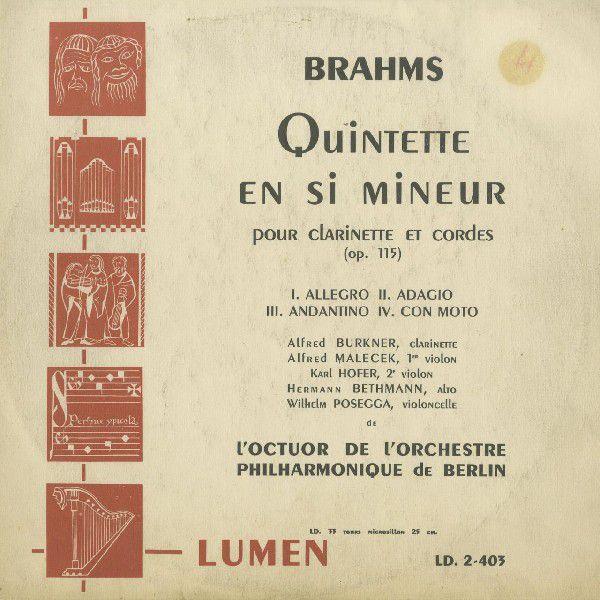 <中古LPレコード>ブラームス:Cl五重奏曲Op.115