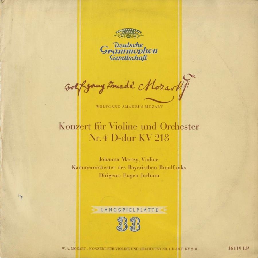 <中古クラシックLPレコード>モーツァルト:ヴァイオリン協奏曲4番K.218/J.マルツィ(vn)E.ヨッフム指揮バイエルン放送室内o./独DGG:16 119 LP