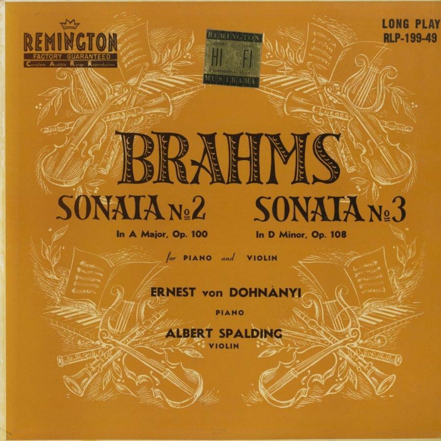 <中古クラシックLPレコード>ブラームス:ヴァイオリン·ソナタ2番,3番/A.スポルディング(vn)E.v.ドホナーニ(pf)/米REMINGTON:R 19949