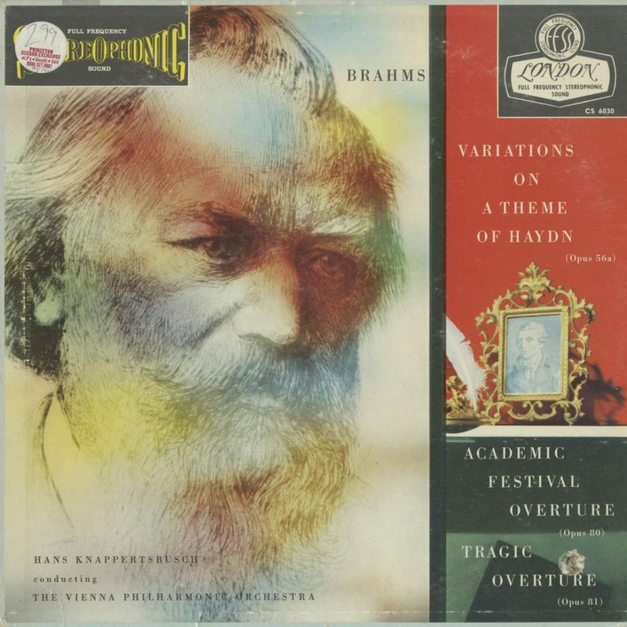 <中古クラシックLPレコード>ブラームス:ハイドン変奏曲,大学祝典序曲,悲劇的序曲/H.クナッパーツブッシュ指揮ウィーンpo./米LONDON:CS 6030
