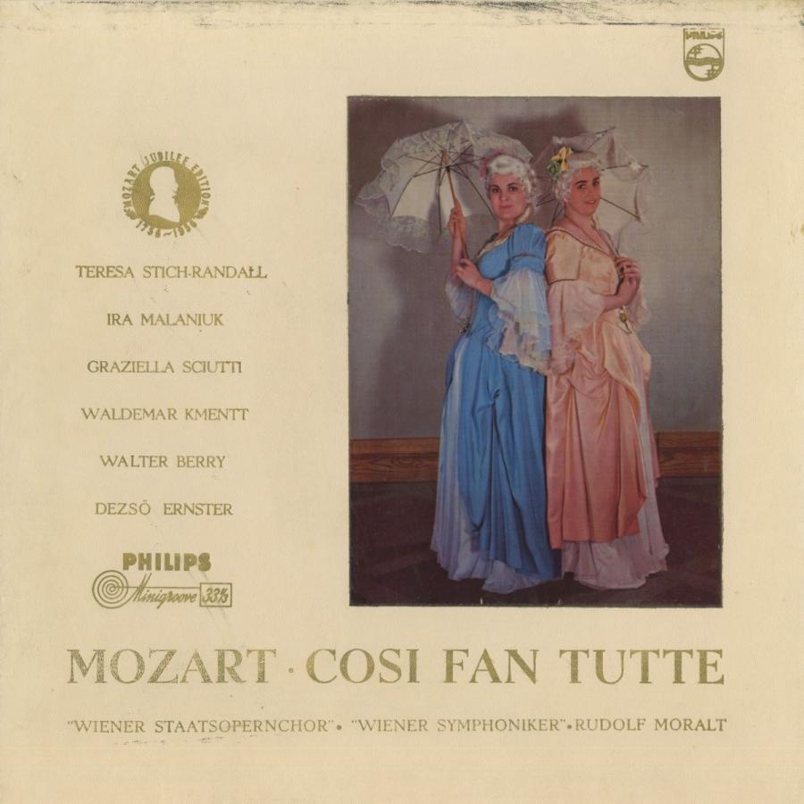 <中古クラシックLPレコード>モーツァルト:コシ·ファン·トゥッテ/R.モラルト指揮ウィーンso. T.シュティヒ·ランダル,G.シュッティ(s)I.マラニウク(ms)