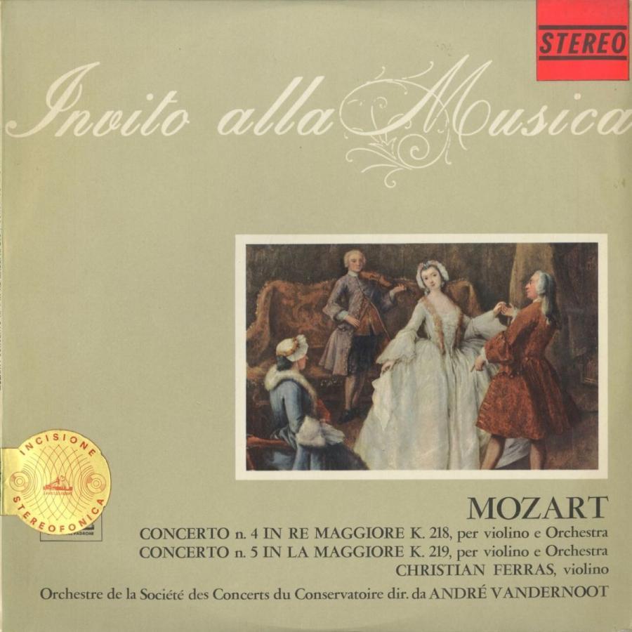 <中古クラシックLPレコード>モーツァルト:ヴァイオリン協奏曲4番K.218,5番K.219/C.フェラス(vn)A.ヴァンデルノート指揮パリ音楽院o.