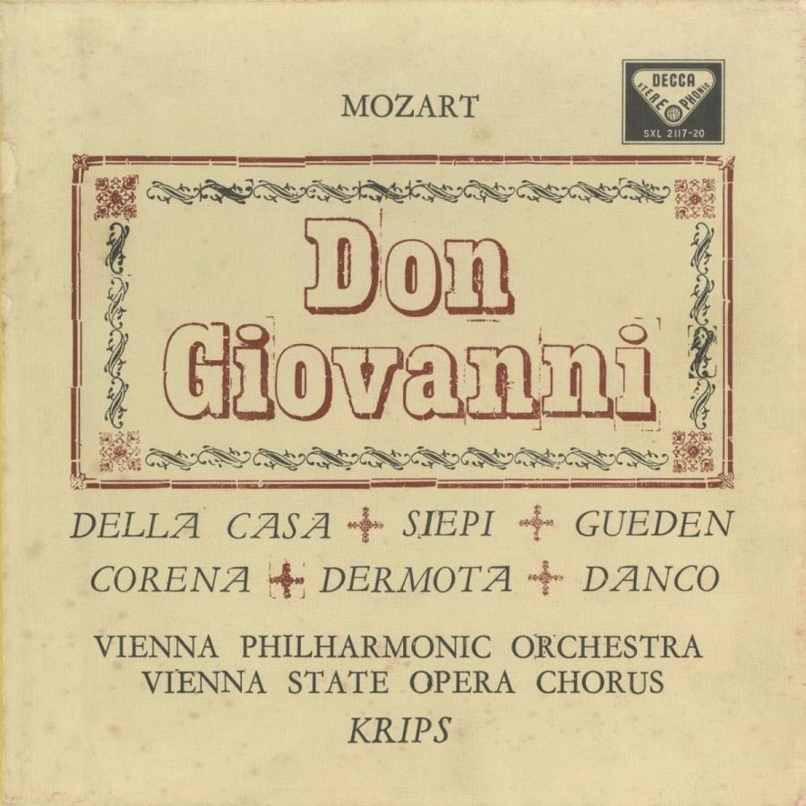 <中古クラシックLPレコード>モーツァルト:ドン·ジョヴァンニ(全曲)/J.クリップス指揮ウィーンpo. S.ダンコ,L.デラ·カーサ,H.ギューデン(s)他