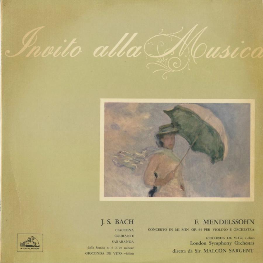 <中古クラシックLPレコード>メンデルスゾーン:ヴァイオリン協奏曲,バッハ/G.デ·ヴィート(vn)M.サージェント指揮ロンドンso./伊HMV:QIM 6360