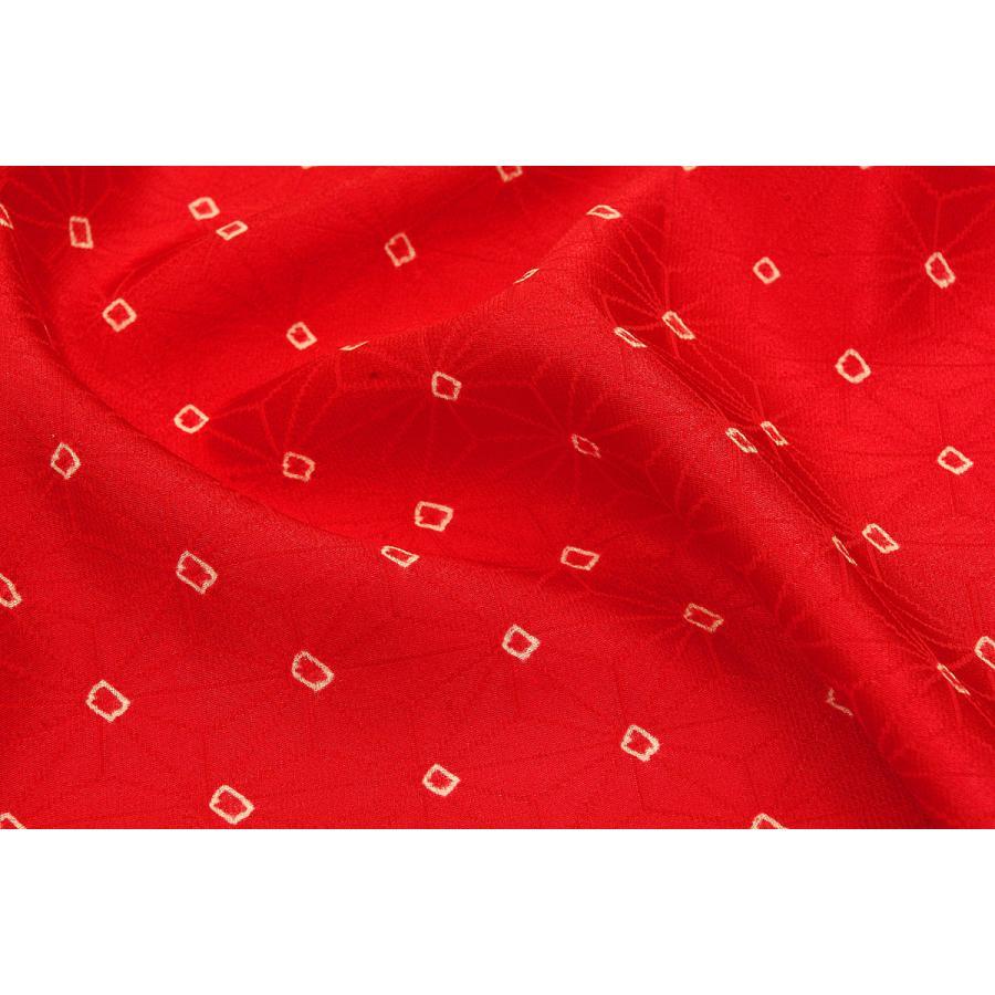 シルク 綸子 無料サンプルOK リンズ 赤系の地色に疋田しぼり メイルオーダー 正絹 和柄 和風 生地 友禅 衣装 ハギレ 着物 はぎれ