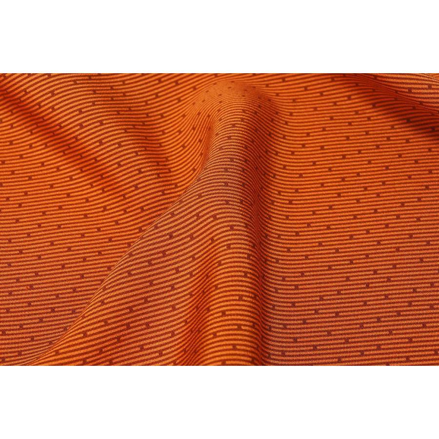 シルク 一越ちりめん オレンジ系の地色に江戸小紋文様 日本限定 正絹 和柄 和風 安心の実績 高価 買取 強化中 着物 ハギレ 衣装 生地 友禅 はぎれ