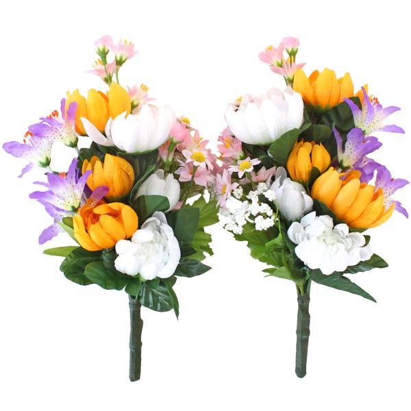 ディスカウント 仏花 造花 小ぶりな菊とデージーの小花束一対 お墓用 お仏壇 CT触媒 お中元