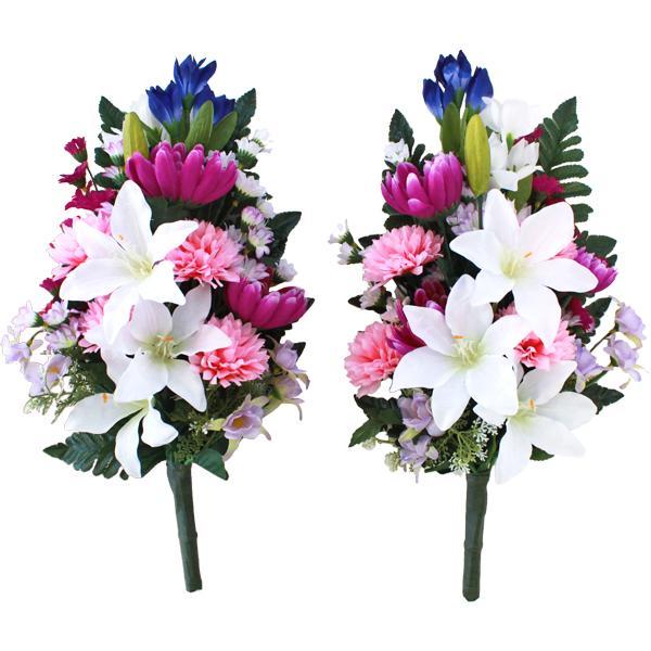 仏花 送料無料限定セール中 造花 ユリとりんどうと小菊の花束一対 CT触媒 お仏壇 お墓用 気質アップ