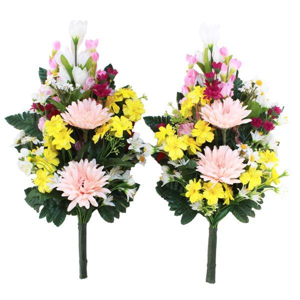 高価値 造花 仏花 ガーベラとリリーの花束一対 在庫あり CT触媒 お墓用 お仏壇