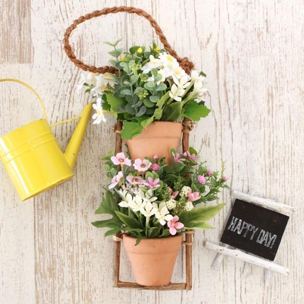 ギフ_包装 造花 ブバリアとデージーの壁掛け CT触媒 シルクフラワー 驚きの価格が実現