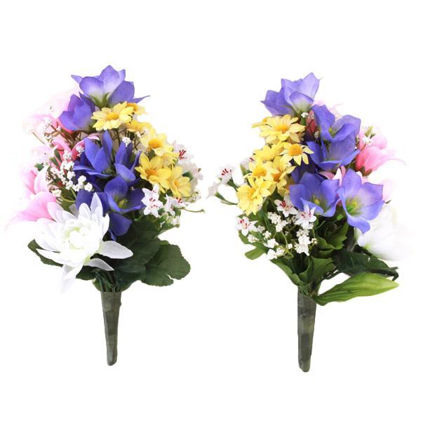 驚きの価格が実現 仏花 造花 超激得SALE 紫の桔梗と菊の小花束一対 CT触媒