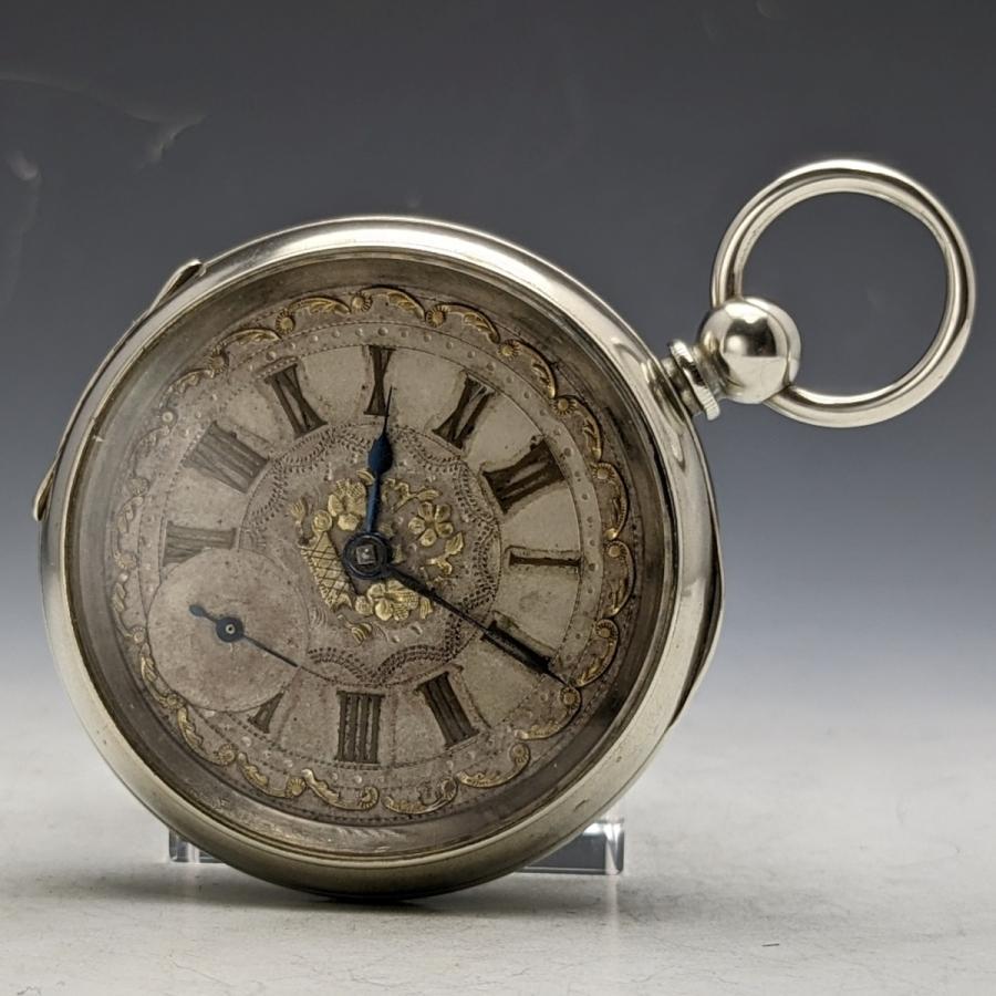 【国内整備済】スイス製 アンティーク 動作良好 鍵巻き 懐中時計 装飾ダイヤル ニッケルケース