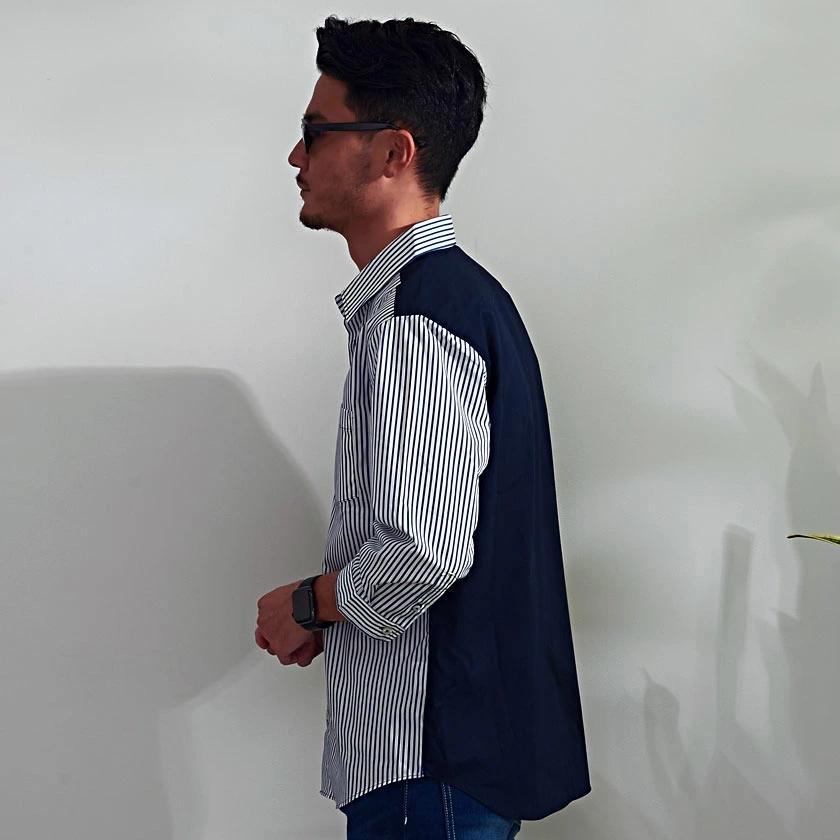 """"""" シャツ メンズ 7分袖 七分袖 日本製 国産 ストライプ カジュアルシャツ きれいめ おしゃれ ストレッチ 上品 大人 細身 黒 紺 春 夏 CavariA 2021  """" silverbulletxfuga 11"""