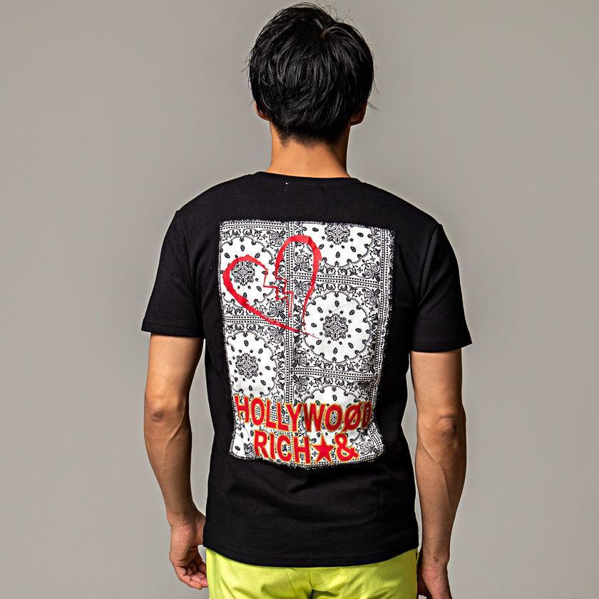 """ Tシャツ メンズ 半袖 クルーネック バックプリント ペイズリー柄 ロゴ カジュアル ユニセックス 白 黒 Hollywoodrich 春 夏 2021 ""|silverbulletxfuga|09"