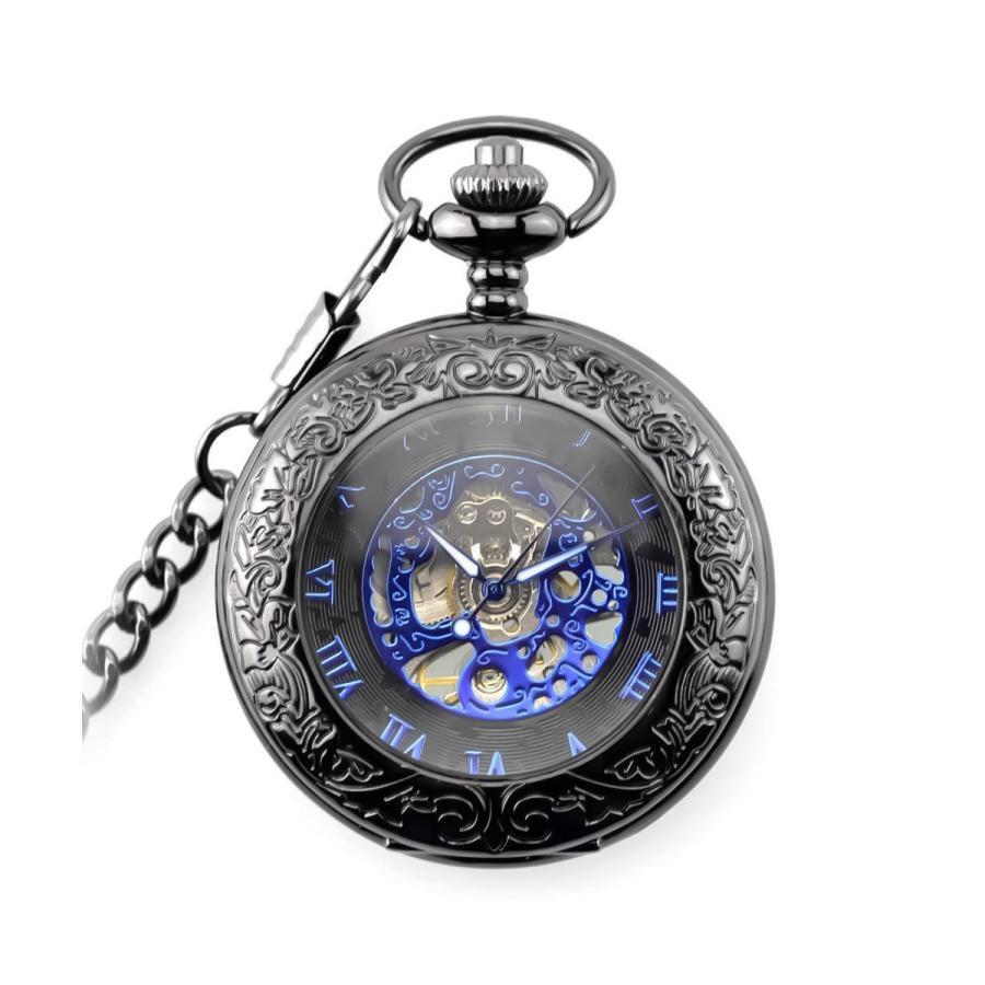 懐中時計 公式ショップ レトロ スチームパンク メタルブルー 高級品 ポイント消化 ブラック