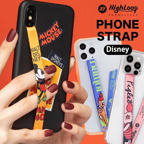 スマホ 落下防止 ストラップ バンド Disney ディズニー HighLoop ハイループ iPhone 携帯 おしゃれ 片手 韓国 ミッキー トイストーリー メール便OK sincere-inc