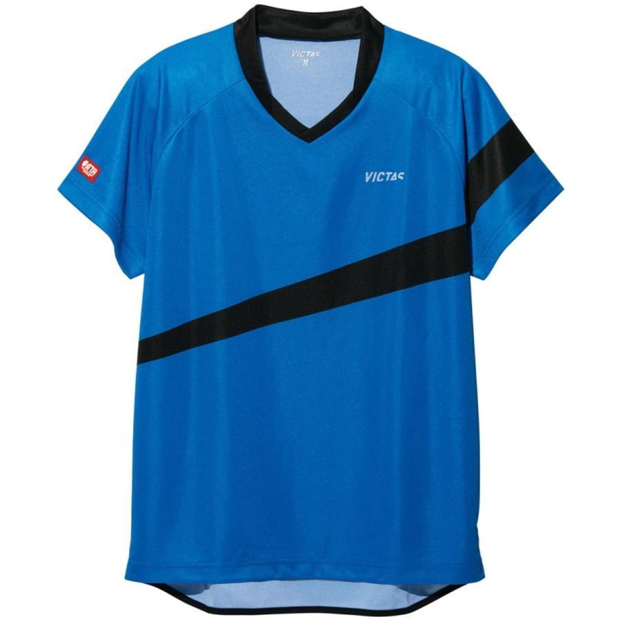 VICTAS(ヴィクタス) 卓球 男女兼用 ゲームシャツ V-GS040 031463 ブルー×ブラック(0122) 2XS