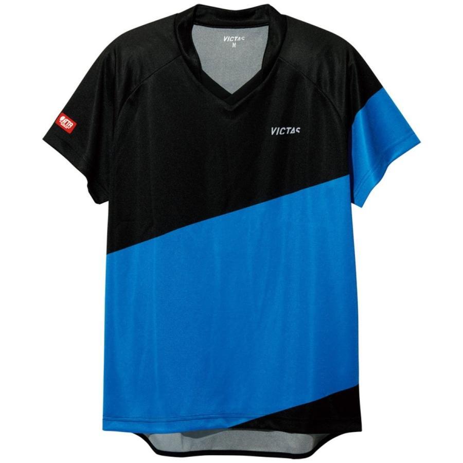 VICTAS(ヴィクタス) 卓球 男女兼用 ゲームシャツ V-GS039 031462 ブラック×ブルー(0022) 2XS