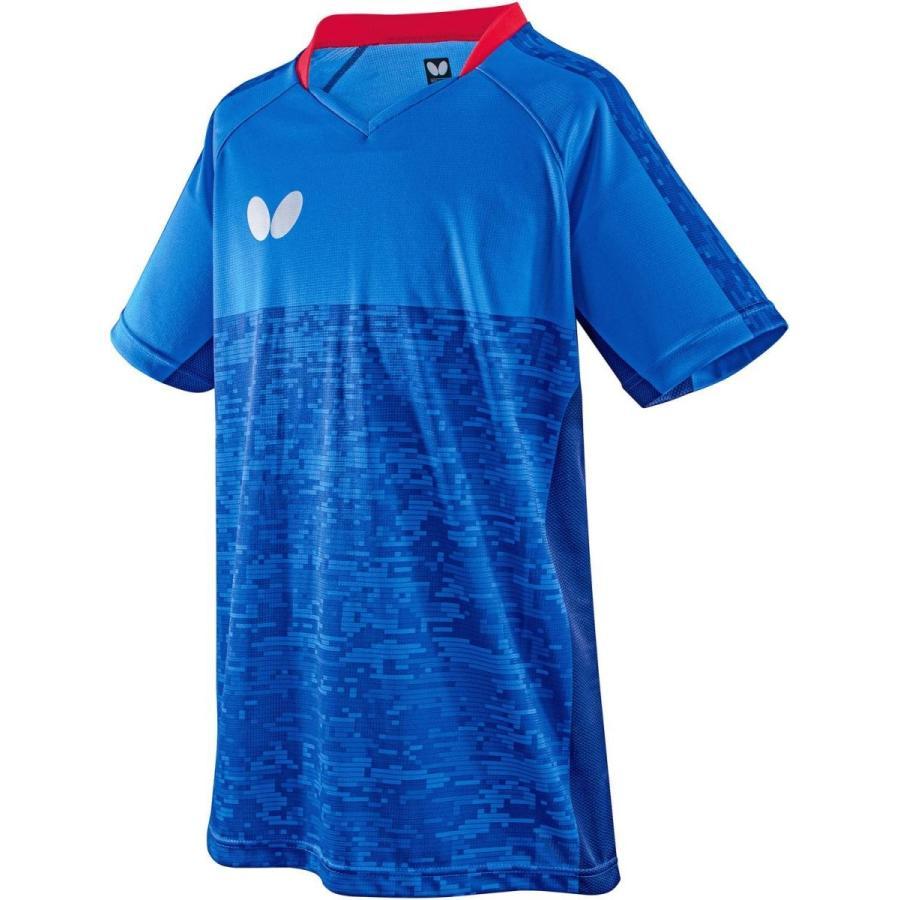 バタフライ(Butterfly) 卓球 試合用 半袖ゲームウェア エルクレスト・シャツ 男女兼用 ブルー 45440