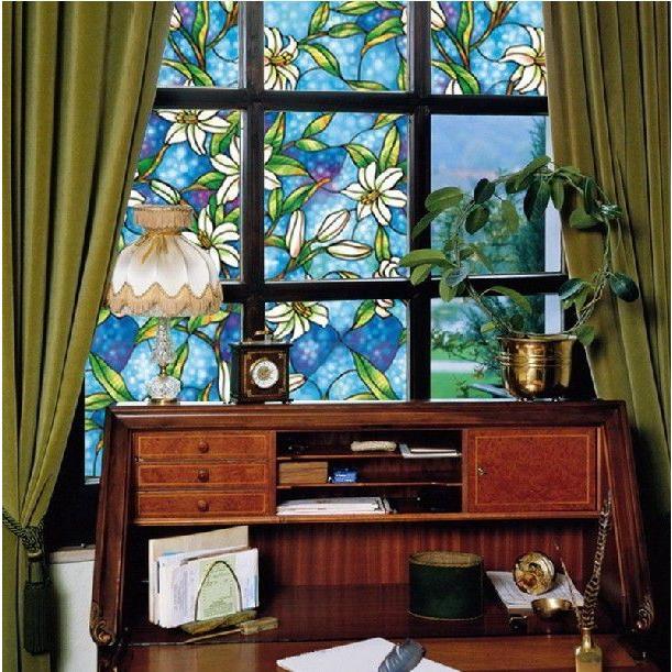 [のり不要]《ブルーフラワー》 ステンドグラス風ガラスフィルム1メートル幅90cm 窓飾りシート シール 目隠し はがせる 防水 断熱 ガラスフィルム 送料無料 ||siruki