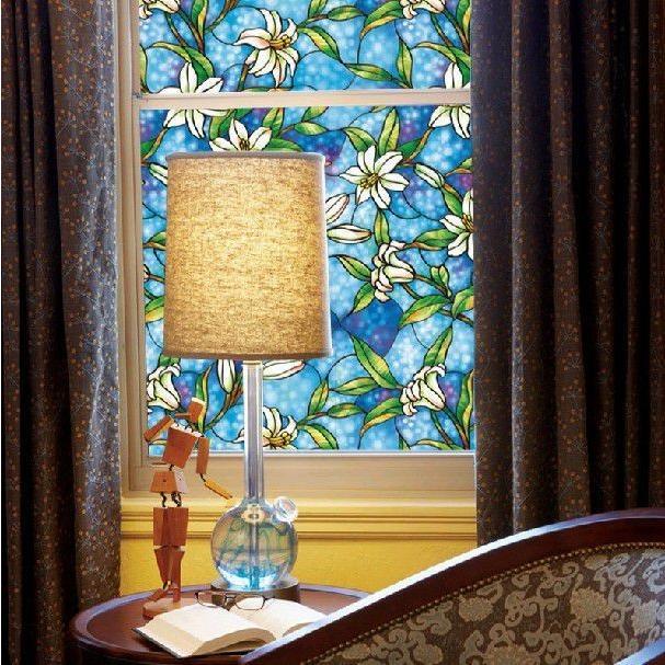 [のり不要]《ブルーフラワー》 ステンドグラス風ガラスフィルム1メートル幅90cm 窓飾りシート シール 目隠し はがせる 防水 断熱 ガラスフィルム 送料無料 ||siruki|02