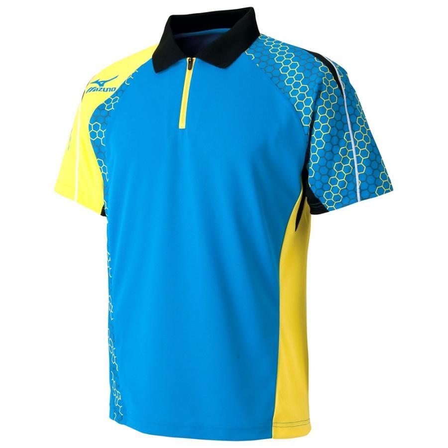 卓球 ウェア ミズノ ゲームシャツ ディーバブルー×ブレイジングイエロー メンズ 82JA6003 24
