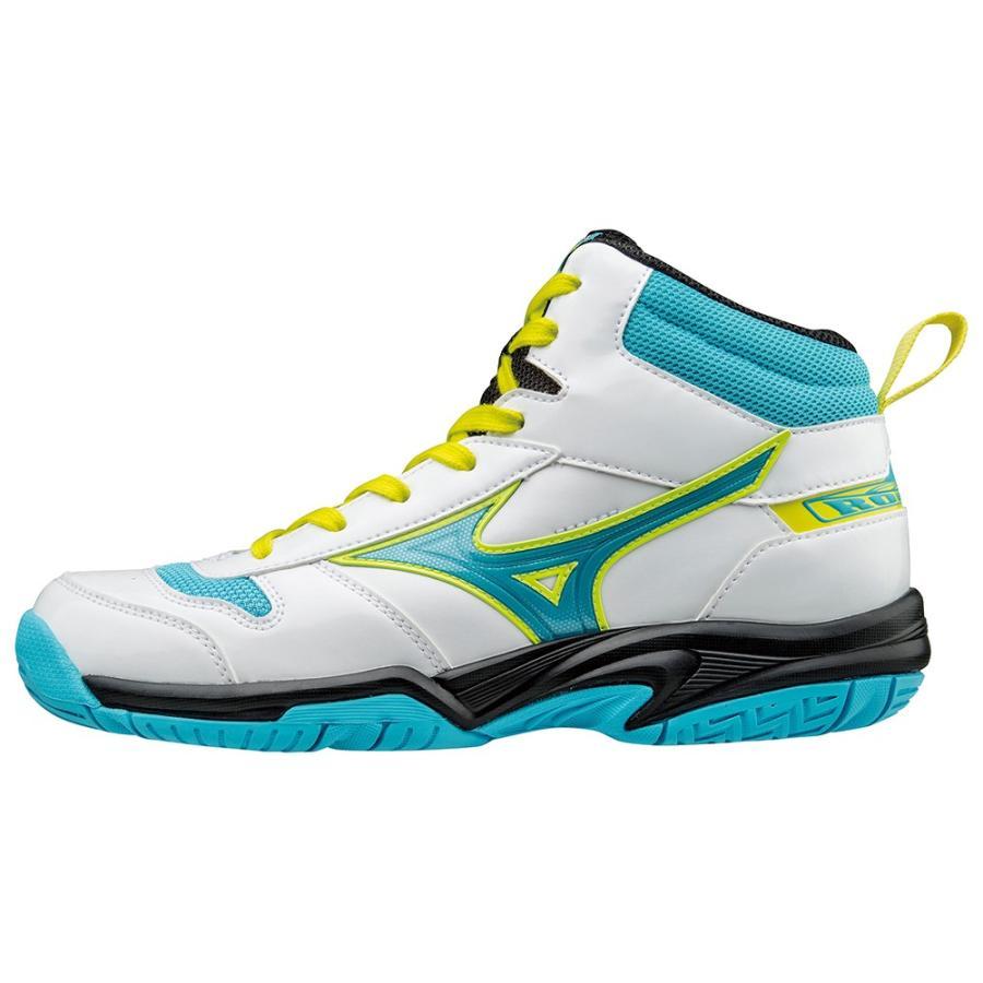 バスケットボールシューズ ミズノ ルーキーBB4 ホワイト×ライトブルー×イエロー ジュニア W1GC1770 25