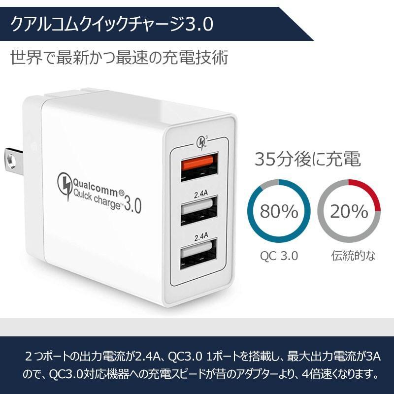 USB充電器 急速 ACアダプター 2.4A 壁充電器 3ポート スマホ折り畳み式USB急速充電(Quick Charge 3.0 、iSmart出力自動判別  等対応 sky-sky 04