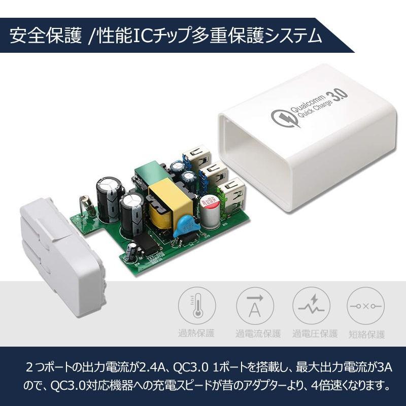 USB充電器 急速 ACアダプター 2.4A 壁充電器 3ポート スマホ折り畳み式USB急速充電(Quick Charge 3.0 、iSmart出力自動判別  等対応 sky-sky 06