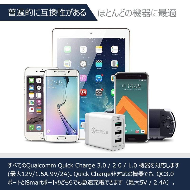 USB充電器 急速 ACアダプター 2.4A 壁充電器 3ポート スマホ折り畳み式USB急速充電(Quick Charge 3.0 、iSmart出力自動判別  等対応 sky-sky 09