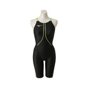 ミズノ MIZUNO 競泳用ハーフスーツ ジュニア スイミング ブラック×ライム N2MG842393