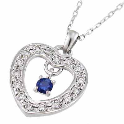 激安特価 サファイア 天然ダイヤモンド ジュエリー ネックレス オープン ハート 9月誕生石 プラチナ900, EPLAN fdd97fe0