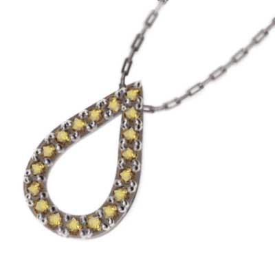 2019人気特価 18kホワイトゴールド ペンダント ネックレス (黄水晶)シトリン 11月誕生石 滴, ツシ de2215ef