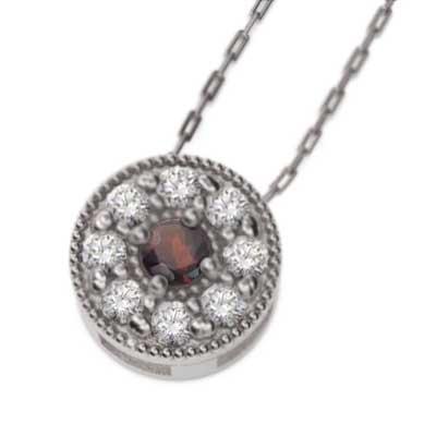 特価ブランド ネックレス プラチナ900 ガーネット 天然ダイヤモンド 1月誕生石 ミル打ち, 夢陶房 c66f8b00