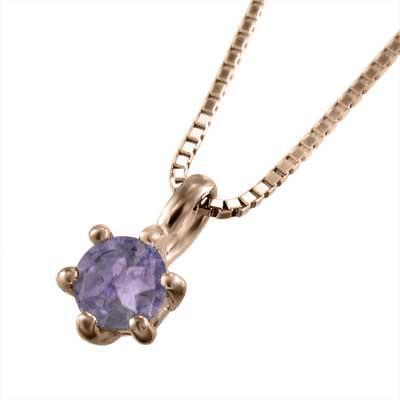 誠実 一粒 ジュエリー ネックレス アメシスト(紫水晶) 18kピンクゴールド 3.8mm石, しずなーびShop 63c5ad0b