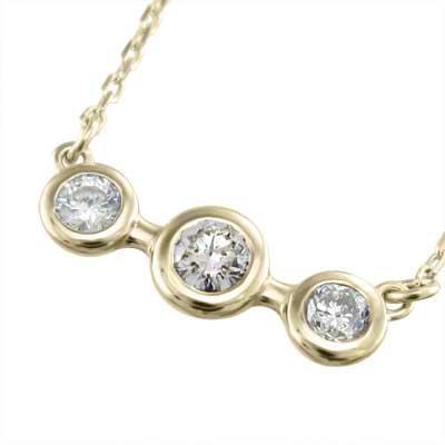 ふるさと納税 K10 ペンダント ネックレス スリーストーン ダイヤモンド, セタガヤク f87186cc
