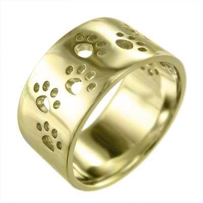 人気No.1 平打ちの 指輪 犬 スタンダード イエローゴールドk18 大サイズ 約10mm幅 大サイズ 指輪 平打ちの 厚さ約1.4mm 肉球足跡抜き, SKIMP:d89ecbb3 --- airmodconsu.dominiotemporario.com