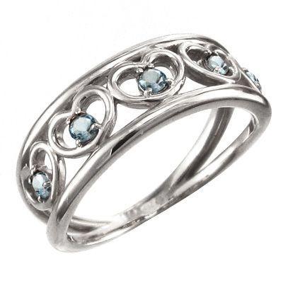 人気新品入荷 白金(プラチナ)900 スウィート ハート 指輪 5石 アクアマリン 5連, 腕時計ノップル 8806ce19